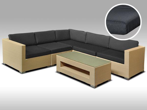 Luxusní rohová sedací souprava ALLEGRA 13 písková 4 osoby, tmavě šedé polstry + DÁREK