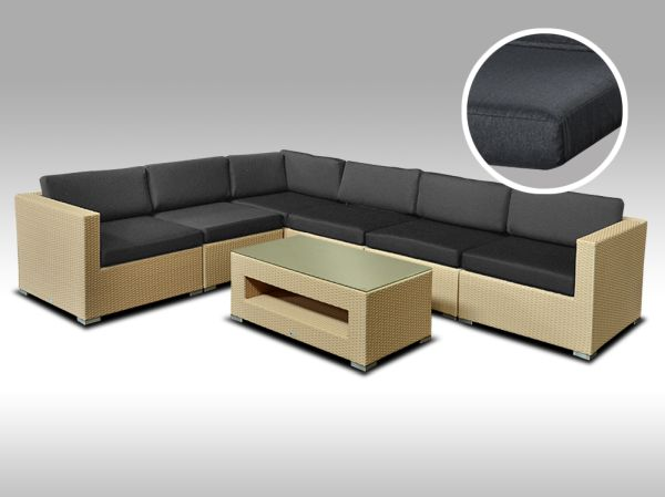 Luxusní rohová sedací souprava ALLEGRA 14 písková 5 osob, tmavě šedé polstry + DÁREK