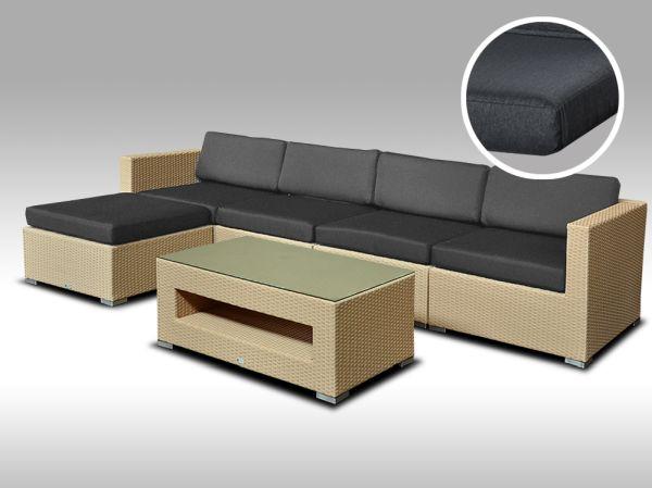 Luxusní rohová sedací souprava ALLEGRA 9 písková 4-5 osob, tmavě šedé polstry + DÁREK