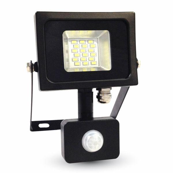 Ultratenký LED reflektor s čidlem pohybu černý 10W 800lm studená