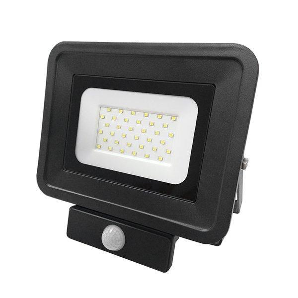Ultratenký LED reflektor s čidlem pohybu černý  30W 2550lm denní