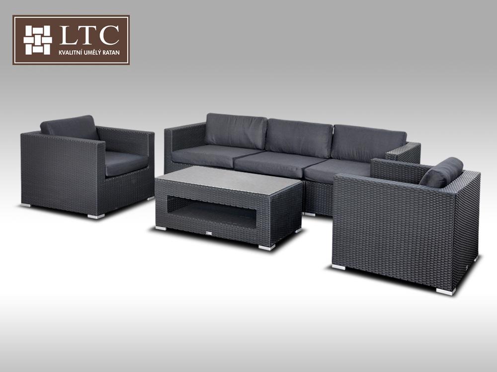 Umělý ratan - luxusní sedací souprava ALLEGRA 3 černá 5 osob + DÁREK