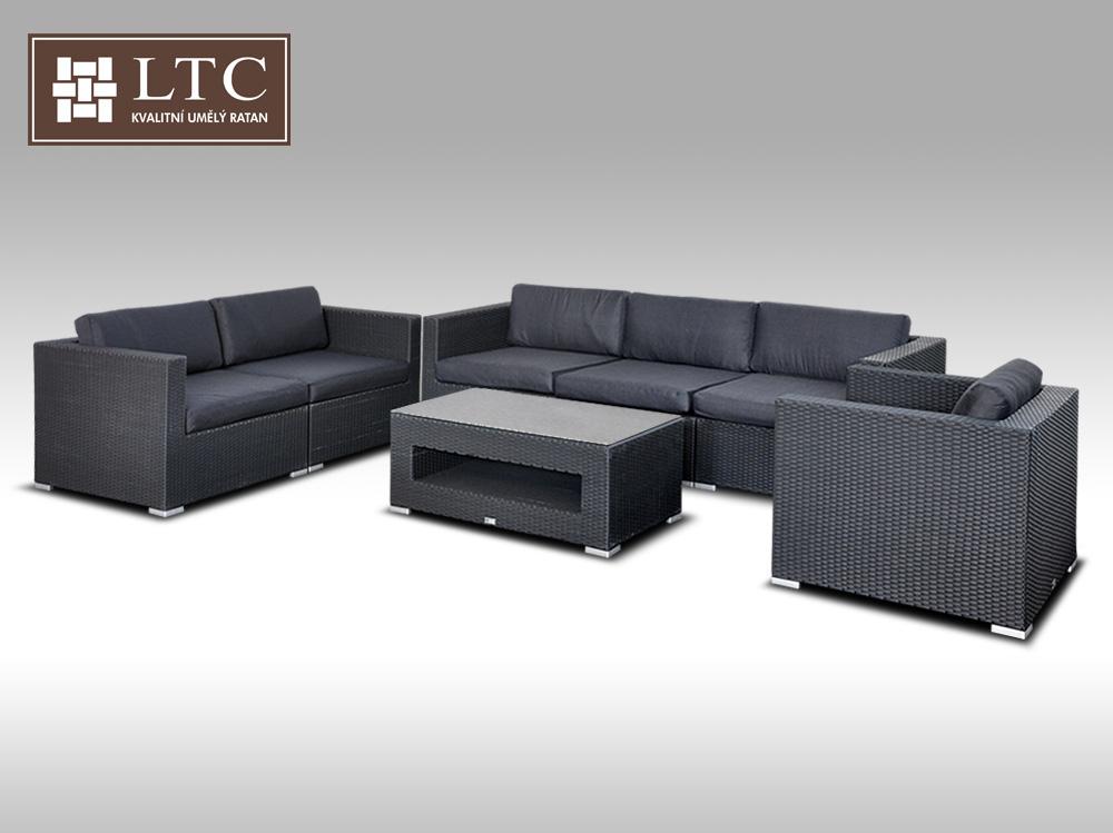 Umělý ratan - luxusní sedací souprava ALLEGRA 4 černá 6 osob + DÁREK