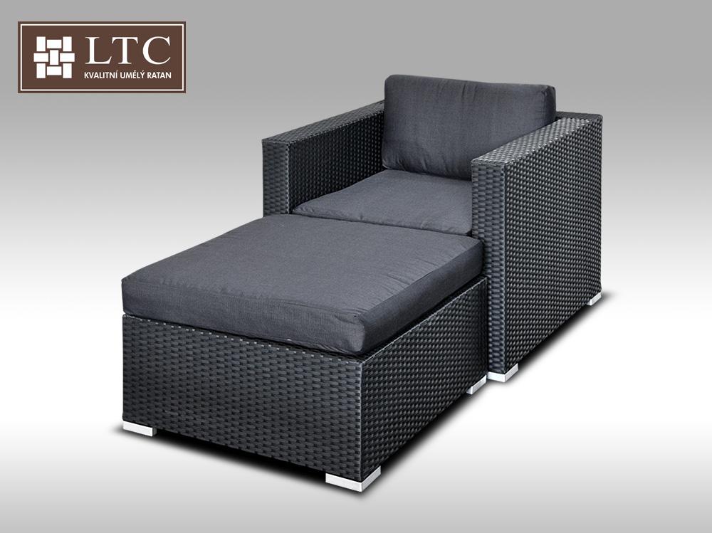 Umělý ratan - luxusní sedací souprava ALLEGRA 1 černá 1-2 osoby