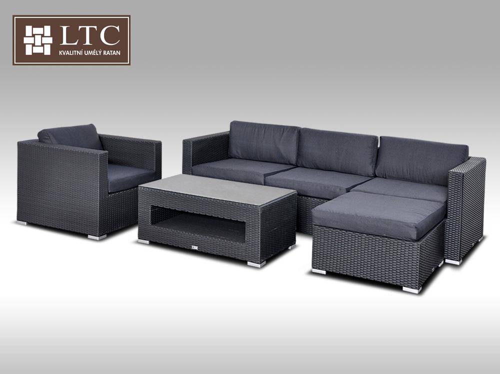 Luxusní rohová sedací souprava ALLEGRA 8 černá 4-5 osob + DÁREK