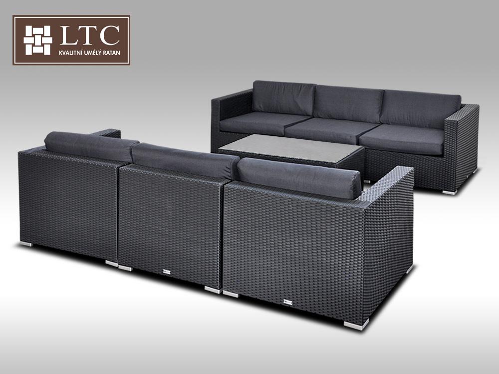 Umělý ratan - luxusní sedací souprava ALLEGRA 6 černá 6 osob + DÁREK