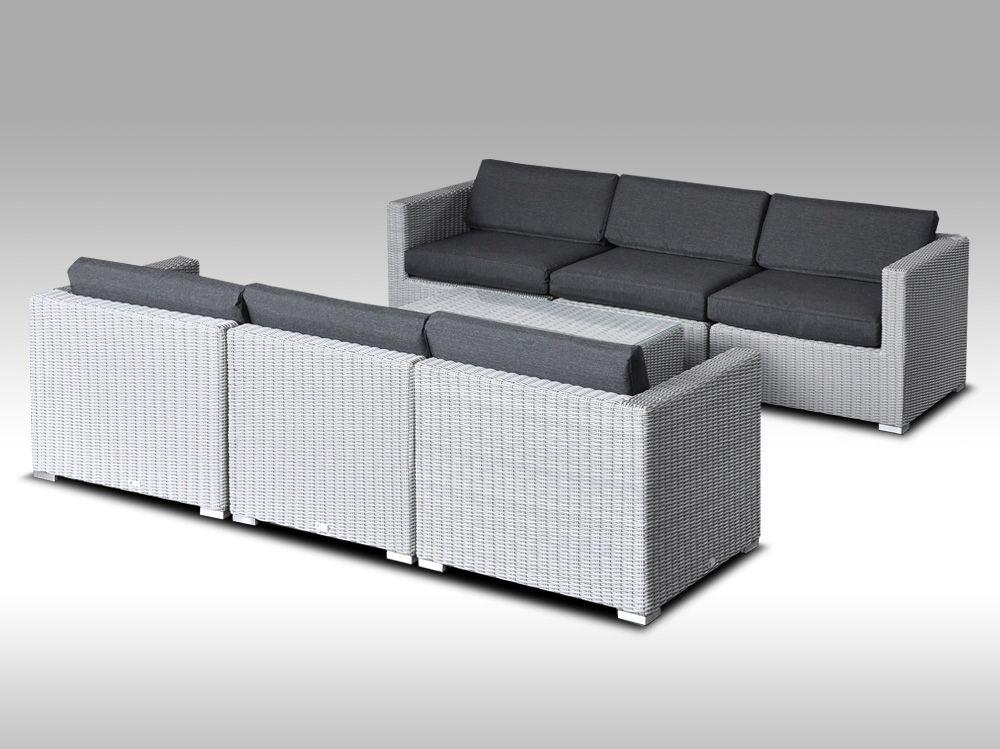 Umělý ratan - luxusní sedací souprava ALLEGRA 6 šedá 6 osob, kulatý ratan + DÁREK