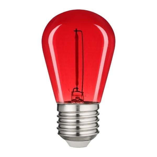 Retro barevná LED žárovka E27 0,6W 50lm červená, filament
