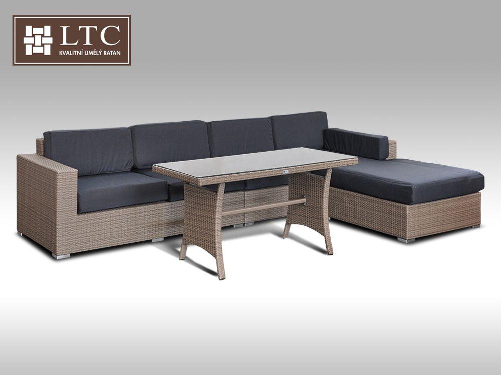 Luxusní sedací souprava z umělého ratanu Conchetta 8 2v1 šedobéžová 3,22x1,9m + DÁREK