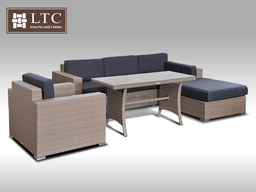 Luxusní sedací souprava z umělého ratanu Conchetta 12  2v1 šedobéžová 2,48x1,9m + DÁREK