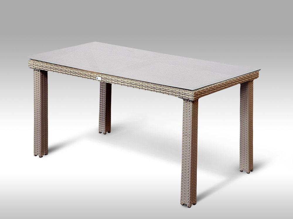 Umělý ratan - stůl Enrico 160x90  šedobéžový