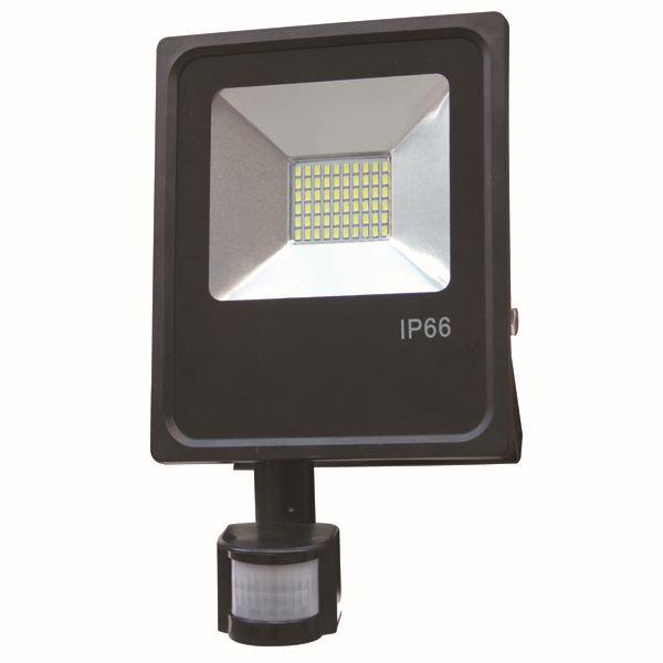 Ultratenký LED reflektor s čidlem pohybu černý  20W 1600lm teplá