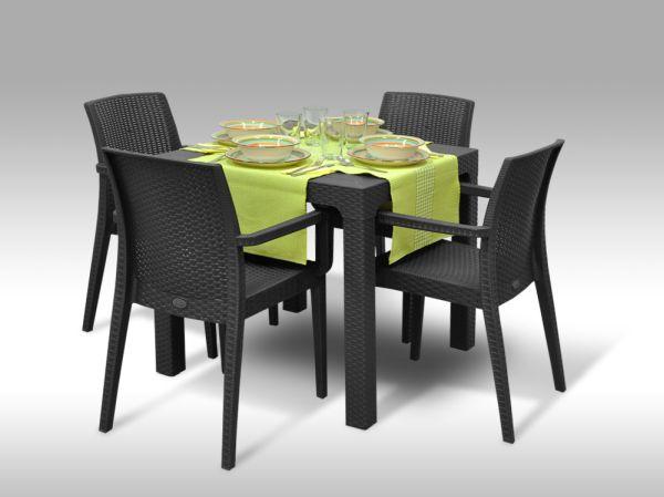 Jídelní sestava Granada + 4 židle Valencia antracitová