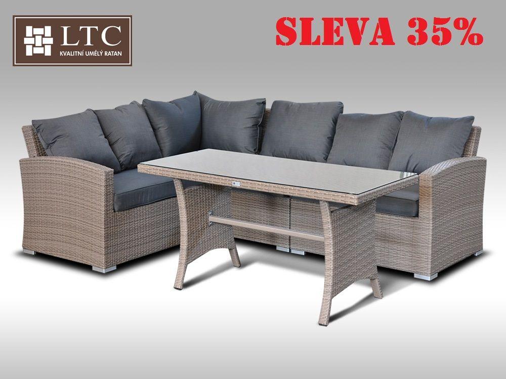 Luxusní sedací a jídelní souprava  PAOLA IV 2v1 šedobéžová 4 osoby