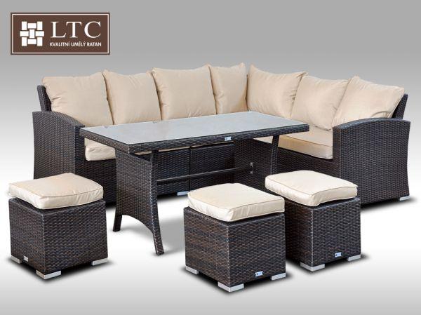 Luxusní sedací a jídelní souprava  PAOLA 1 2v1 hnědá 4-7 osob, sv. hnědý polstr + DÁREK