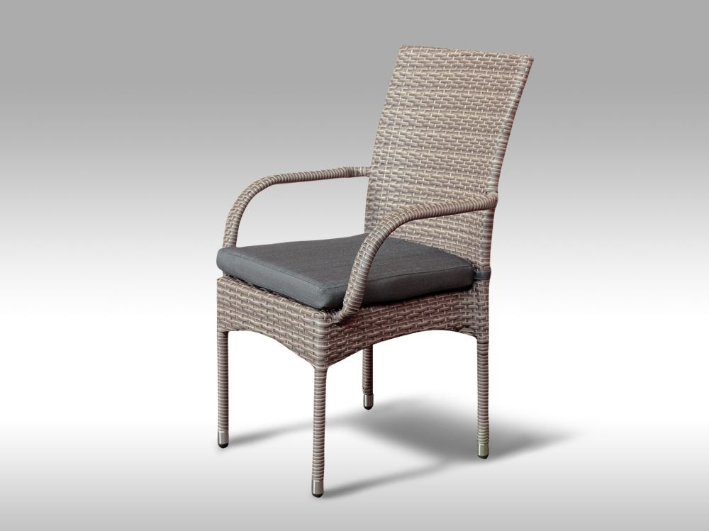 Židle z umělého ratanu Pietro šedobéžová