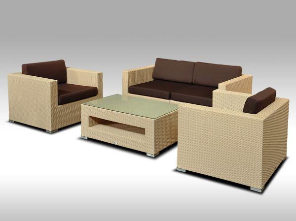 Umělý ratan - luxusní sedací souprava ALLEGRA 2 písková 4 osoby + DÁREK