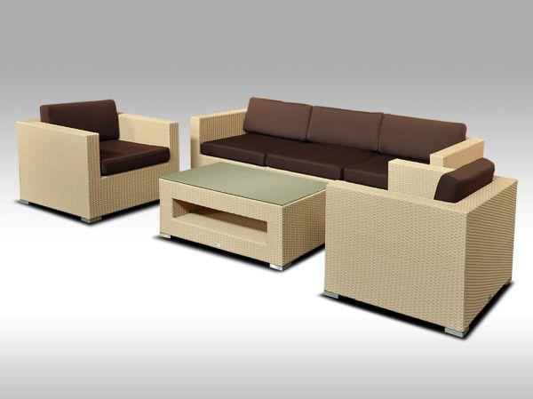 Umělý ratan - luxusní sedací souprava ALLEGRA 3 písková 5 osob + DÁREK