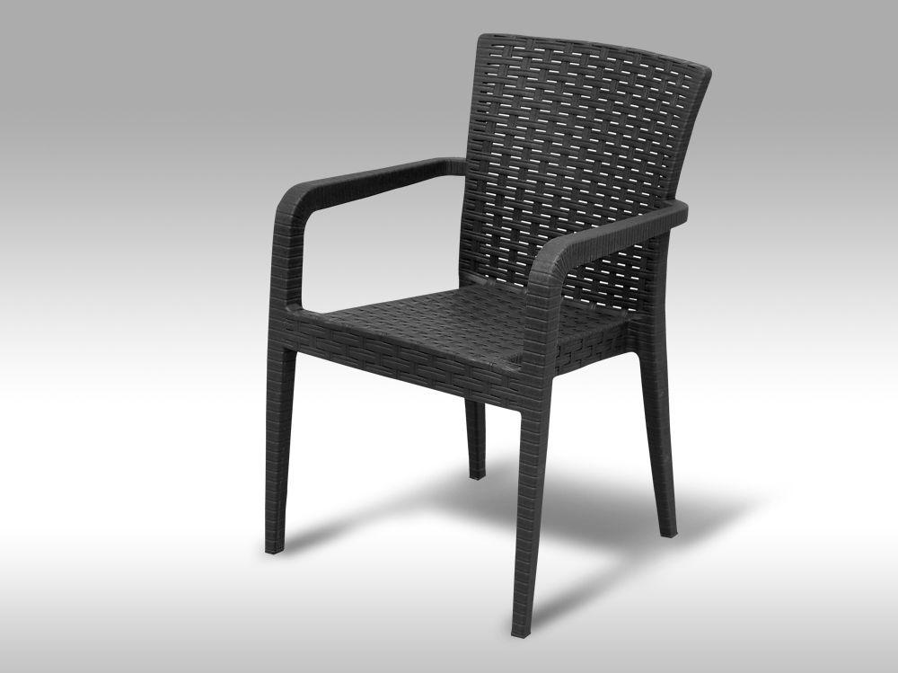 Zahradní plastová židle s područkami Valencia antracitová VZHLEDOVÉ VADY 3 ks