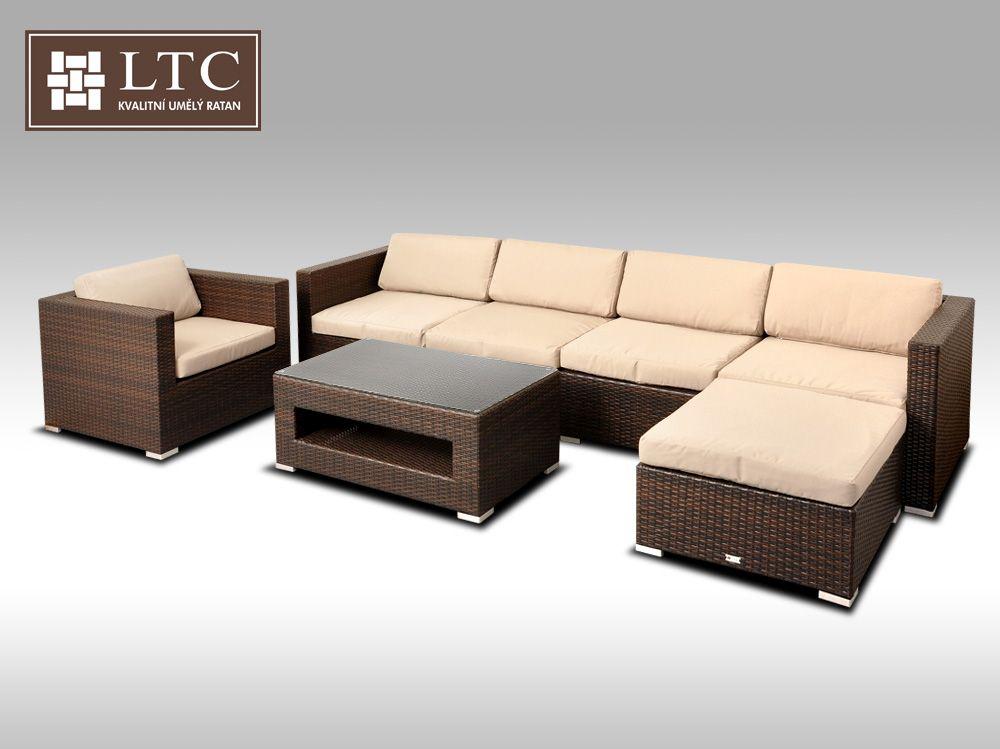 Luxusní rohová sedací souprava ALLEGRA 10 hnědá 5-6 osob, sv. hnědý polstr + DÁREK