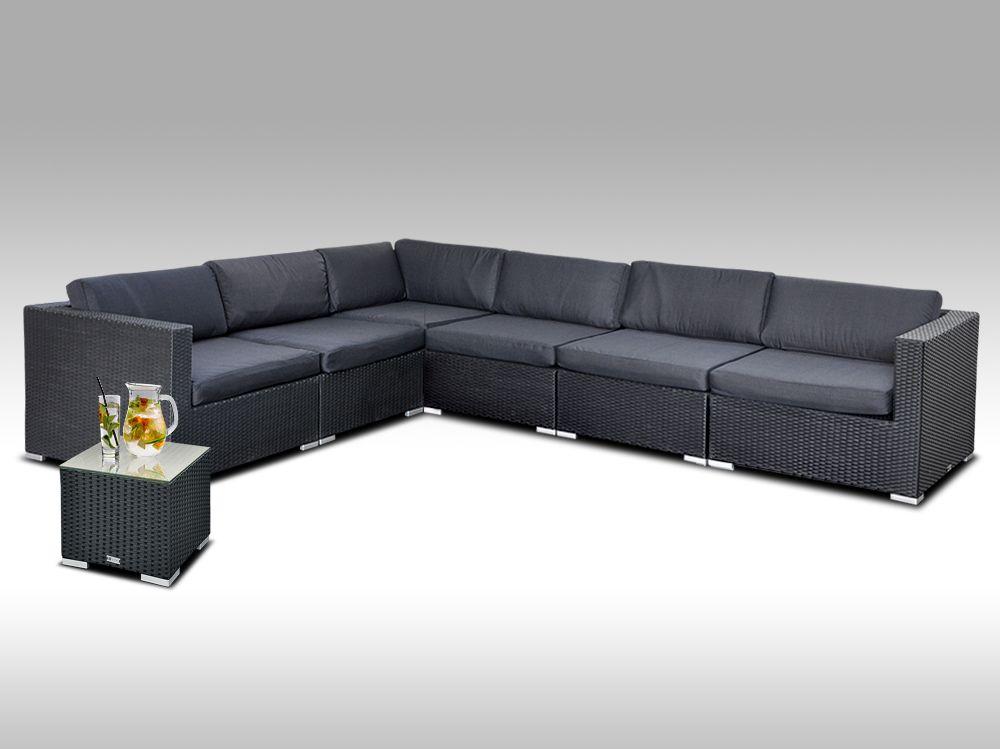 Luxusní rohová sedací souprava ALLEGRA 14 černá s odkládácím stolkem, 5 osob + DÁREK