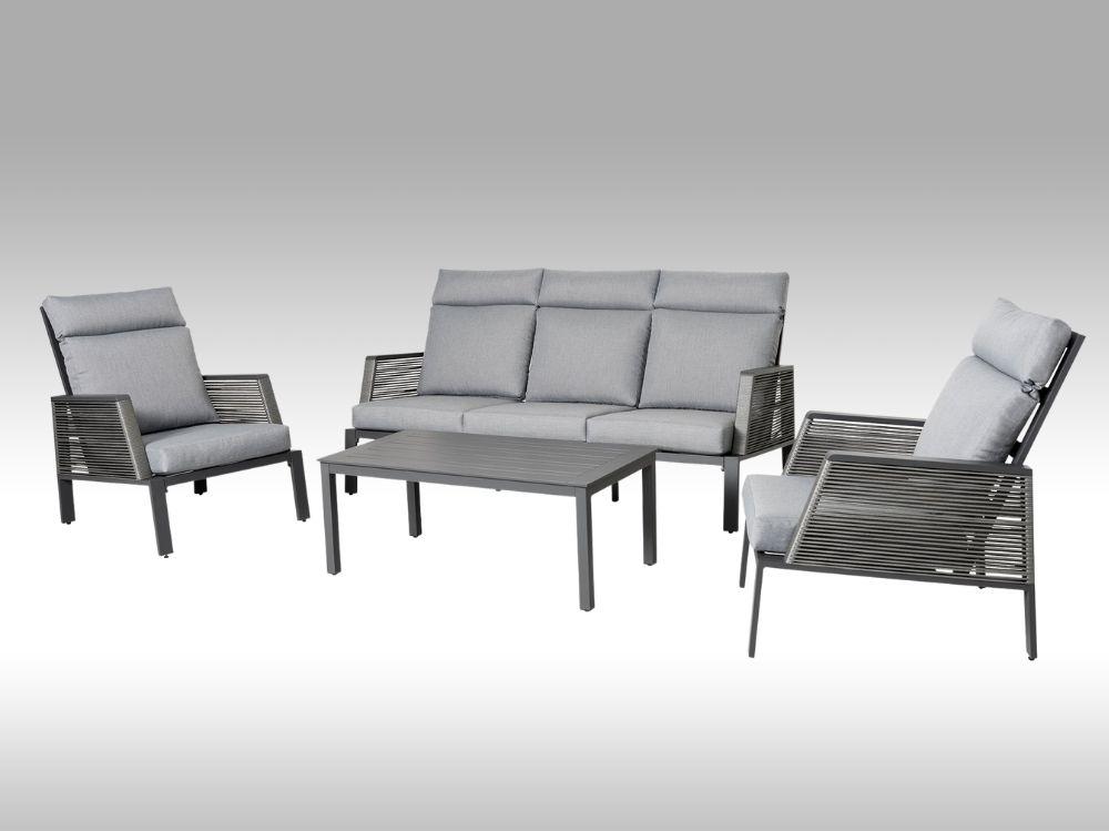 Zahradní set s vysokými zády – hliníková sedací souprava Rio 2 šedá 5 osob