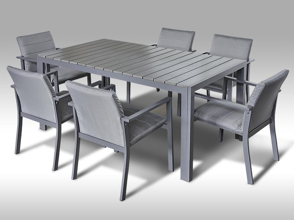 Hliníkový nábytek: stůl Jerry 160cm tm.šedý a 6 stohovatelných polstrovaných křesel Justin