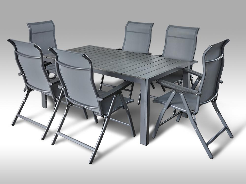 Kovový zahradní nábytek: stůl Jerry 160cm tmavě šedý a 6 polohovacích křesel Sardinia