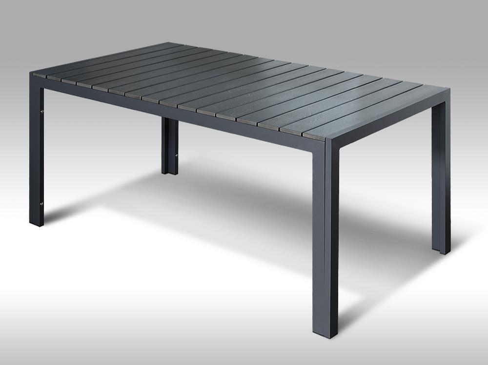 Hliníkový zahradní stůl Jerry 160cm x 90cm, tmavě šedý, pro 6 osob