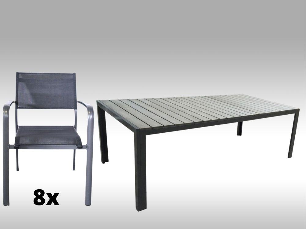 Hliníkový zahradní nábytek: stůl Jerry 220cm tmavě šedý a 8 stohovatelných křesel Juventus
