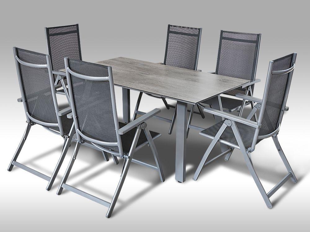 Hliníkový zahradní nábytek: stůl Lucca 160cm a 6 polohovacích křesel Palermo