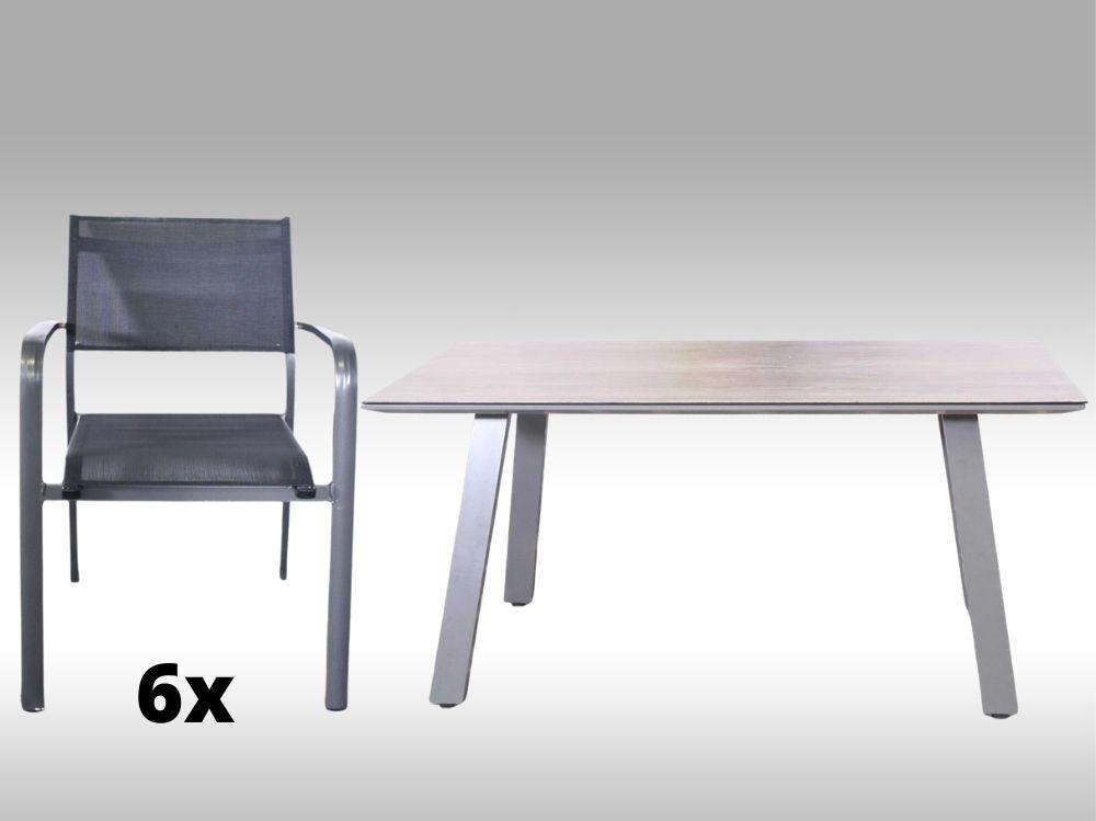Hliníkový zahradní nábytek: stůl Lucca 160cm a 6 stohovatelných křesel Juventus