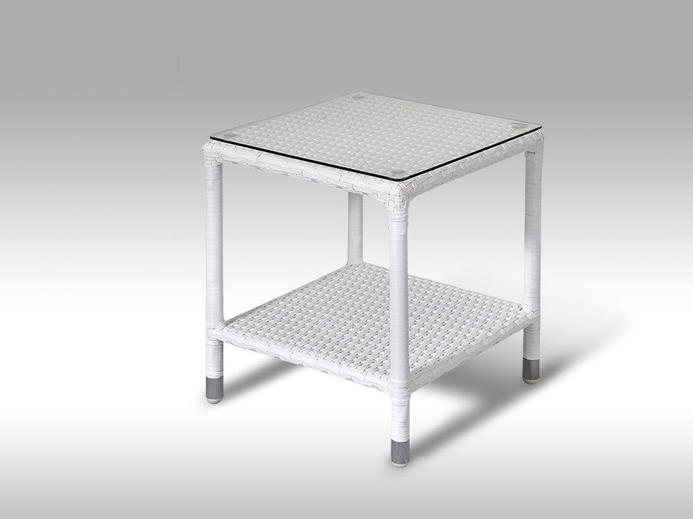 Umělý ratan - stůl Marco bílý