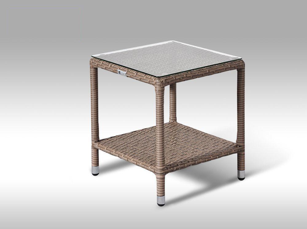 Umělý ratan - stůl Marco šedobéžový