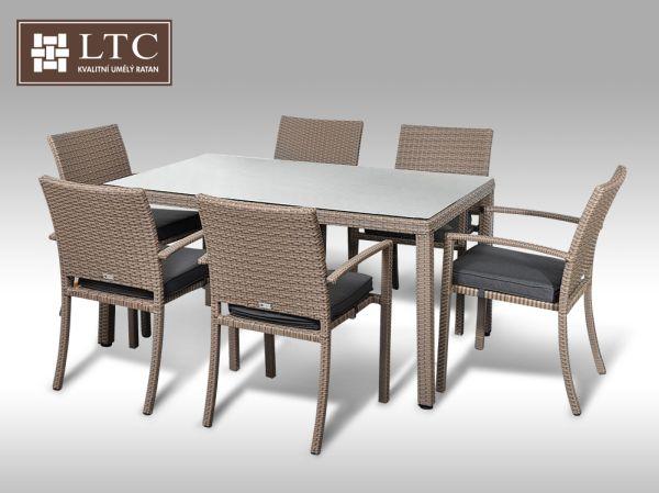 Umělý ratan - jídelní sestava Enrico 160 + 6 židlí Armino šedobéžová