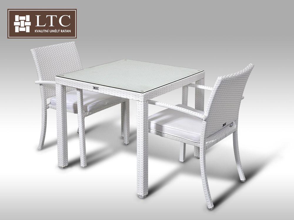 Umělý ratan - jídelní sestava Orlando 80 + 2 židle Armino bílá
