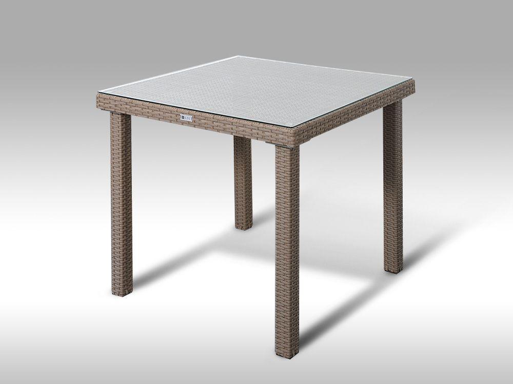 Umělý ratan - stůl Orlando 80x80 šedobéžový