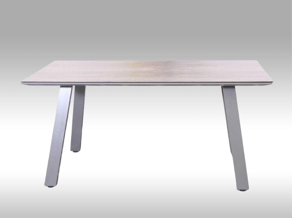 Hliníkový zahradní stůl Lucca 160cm x 90cm, šedý, pro 6 osob